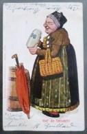 Chromo Illustrateur LUDWIG FRANK  P.O. Engelhard 1900 Laide Grosse Femme Parapluie Fut Chope Biere HB 1901 CACHET CLUNY - Humour