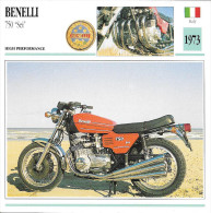 1973 - FICHE TECHNIQUE MOTO - DÉTAIL COMPLET À L´ENDOS - BENELLI 750 SEI - HIGH PERFORMANCE - ITALY - Motor Bikes