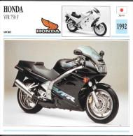 1992 - FICHE TECHNIQUE MOTO - DÉTAIL COMPLET À L´ENDOS - HONDA VFR 750 F - SPORT - JAPON - Motor Bikes