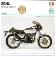 1973 - FICHE TECHNIQUE MOTO - DÉTAIL COMPLET À L´ENDOS - BENELLI 650 NUOVA TORNADO S2 - TOURISME - ITALIE - Motor Bikes