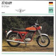 1973 - FICHE TECHNIQUE MOTO - DÉTAIL COMPLET À L´ENDOS - ZÜNDAPP KS 125 SPORT - ALLEMAGNE - Motor Bikes