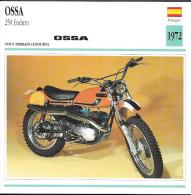 1972 - FICHE TECHNIQUE MOTO - DÉTAIL COMPLET À L´ENDOS - OSSA 250 ENDURO - TOUT TERRAIN - ESPAGNE - Motor Bikes