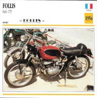 1954 - FICHE TECHNIQUE MOTO - DÉTAIL COMPLET À L´ENDOS - FOLLIS SAFO 175 - SPORT - FRANCE - Motor Bikes