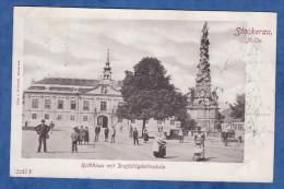 CPA De 1900 - STOCKERAU - Rathhaus Mit Dreifaltigkeitssaule - Kéry & Haintsch - Stockerau