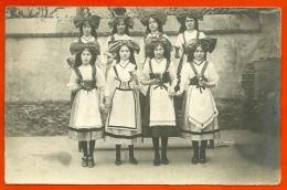 CPA CARTE-PHOTO  Jeunes ALSACIENNES ** Alsace Costumes Costume Alsacien - Alsace