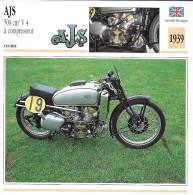 1939 - FICHE TECHNIQUE MOTO - DÉTAIL COMPLET À L´ENDOS - AJS 500 Cm3 V 4 À COMPRESSEUR - COURSE - GRANDE BRETAGNE - Motor Bikes