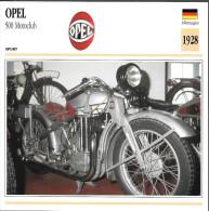1928 - FICHE TECHNIQUE MOTO - DÉTAIL COMPLET À L´ENDOS - OPEL 500 MOTOCLUB - SPORT - ALLEMAGNE - Motor Bikes