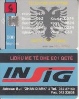 ALBANIA - Telecom Shqiptar 100 Units(reverse INSIG), CN : 1001 + 6 Digits, Tirage %85000, 11/96, Used - Albanie