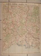 Carte Taride Languedoc N° 18. Toilée. Marseille Montpellier Arles Valence. Vers 1930 - Cartes Routières