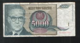 YUGOSLAVIA  5000 Dinara 1992 - Yugoslavia