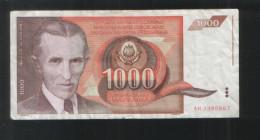 YUGOSLAVIA  1000 Dinara 1990 - Yugoslavia