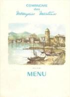 MENU-03/68--CIE MESSAGERIES MARITIMES-PAQUEBOT-LA BOURDONNAIS-AQUARELLE-COLLIOURE-Ft-24x18cm- -TBE - Menus