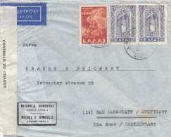 Griechenland Zensur Brief 1947 - 3 Fach Frankiert Gel.v. Athen > Bad Cannstatt/Stuttgart US-Zone - Griechenland