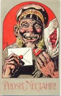 Neujahr, Express-Dienstmann, Künstler-AK, Sign. F.Z., Um 1910 - Nouvel An
