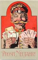 Neujahr, Postillion Mit Briefen, Künstler-AK, Sign. F.Z., Um 1910 - Nouvel An