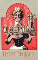 Neujahr, Dame  Mit Punschgläsern, Künstler-AK, Sign. F.Z., Um 1910 - Nouvel An