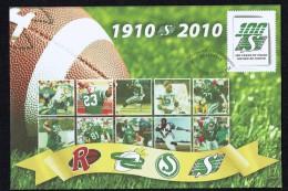 2010  Canda Post  Commemorative Enveloppe  Regina Roughriders Football Club   Unitrade S84 - Enveloppes Commémoratives
