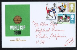 1966  Football World Cup  SG 693p-695p  FDC To USA - FDC