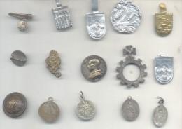 15 ANTIGUOS PINES PINS BROCHES DE SOLAPA SOLD AS IS - LOTE LOT COMPOSICION ALCAZAR PIO XII RELIGION INCLUYE 1 ANTIGUO BO - Badges