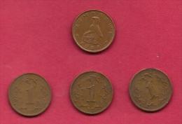ZIMBABWE, 1989, 4 Off, Nicely Used Coins 1 Cent KM1A C2728 - Zimbabwe