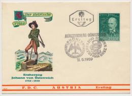FDC Österreich Austria 1959 ANK 1078 Mi 1061 Erzherzog Johann Haus Habsburg - FDC