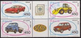 Italia 1986 Scott 1681/4 Sellos º Automoviles Ferrari Testarossa, Fiat Allis FR10B, Alfa Romeo AR 8 Turbo E Innocenti 65 - 6. 1946-.. República