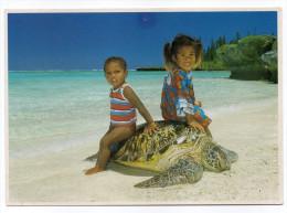 Nouvelle-Calédonie--Gîte Manamaky , Iles Des Pins, Deux Enfants Assis Sur Tortue ,cpm  éd Solaris - Nieuw-Caledonië