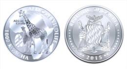 """ZAMBIA  1.000  KWACHA    2.015  2015   """"GIRAFFE""""  PLATA / SILVER   SC/UNC   T-DL-11.274 - Zambia"""