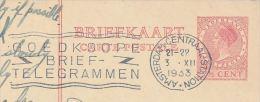1933 NETHERLANDS  Postal STATIONERY CARD With TELEGRAM SLOGAN Pmk  Telegramme Telecom Stamps Cover - Telecom
