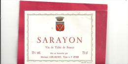 --SARAYON--13°/°--75 Cl--maison GIRARDET--ARCON-- - Labels