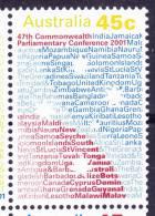 2001. AUSTRALIAN DECIMAL. COMMONWEALTH PARLIAMENT MEETINGS. 45c. BLUE AND RED SOUTHERN CROSS. FU - 2000-09 Elizabeth II