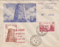 Haudroy Aisne 1938 - Vignette Ténacité Du Poilu & Cachet Commémoratif - Première Guerre 1914 - Marcophilie (Lettres)
