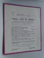 Martha Maria De VREESE 22 Mei 1899 Bellem / Blankenberge 26 Oct 1968 ( Doodsbrief / Nécrologie - Details Zie Foto ) !! - Non Classés