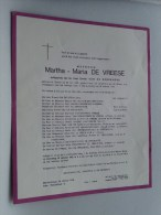 Martha Maria De VREESE 22 Mei 1899 Bellem / Blankenberge 26 Oct 1968 ( Doodsbrief / Nécrologie - Details Zie Foto ) !! - Unclassified