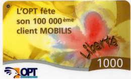 Telecarte De Nouvelle Caledonie Liberté 1000 L´OPT Fete Son 100 000eme Client Mobilis - Neukaledonien