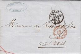 GENEVE 1863, Lettre Adressée De Rothschild Frères, Paris. Entrée SUISSE BELLEGARDE 3, LENOIR-DUVAL.Taxe Plume  /5152 - 1849-1876: Période Classique