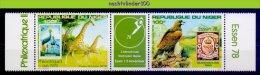 Mfy006 FAUNA VOGELS ZEGEL OP ZEGEL GIRAFFE EAGLE CRANE EXPO ESSEN 78 STAMP ON STAMP BIRDS AVES OISEAUX NIGER 1978 PF/MNH - Briefmarken Auf Briefmarken