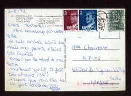 - ESPAGNE 1981/90 . AFFRANCHISSEMENT COMPOSE SUR CP DE 1983 POUR LA FRANCE . - 1931-Hoy: 2ª República - ... Juan Carlos I