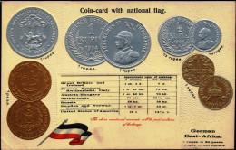 COIN CARDS-EMBOSSED METALLIC COLORS-GERMAN EAST AFRICA- SCARCE-CC-19 - Monnaies (représentations)