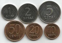 Lithuania 1991. Coin Set 1 Litas 2 And 5 Litai 10 , 20 And 50 Centu UNC/AUNC - Lituanie
