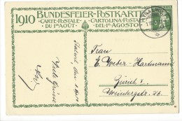 N2 - Fête Nationale Bundesfeier Carte N° 1 1er Jour 01.08.1910 Thalwil - Entiers Postaux