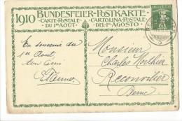 N3 - Fête Nationale Bundesfeier Carte N° 1 1er Jour 01.08.1910 Reconvilier (format 145/95) - Entiers Postaux