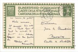 N7 - Fête Nationale Bundesfeier Carte N°2 (carton Blanc) 31.07.1911 De Concise Pour Bevaix - Entiers Postaux