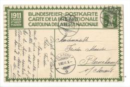 N8 - Fête Nationale Bundesfeier Carte N°2 (carton Blanc) 1er Jour 01.08.1911 Aigle Pour Clarens - Entiers Postaux