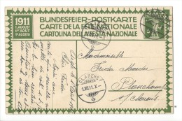 N8 - Fête Nationale Bundesfeier Carte N°2 (carton Blanc) 1er Jour 01.08.1911 Aigle Pour Clarens - Interi Postali