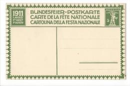 N9 - Fête Nationale Bundesfeier Carte N°2 Neuve 1911 (carton Blanc) - Entiers Postaux
