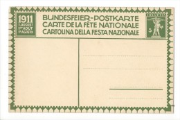 N10- Fête Nationale Bundesfeier Carte N°2 Neuve 1911 (carton Jaune) - Entiers Postaux