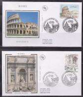 = Capitale Européenne Rome Enveloppes 1er Jour Paris 7.11.02 N°3527 à 3530 Colisée Basilique Saint Pierre Fontaine Trevi - 2000-2009