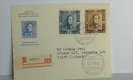 Centenaire Du Timbre Poste Belge  - Feuillet Recommandé De Gent Vers Tilff . 12-07-1949 .... Lot 446 . - Belgium