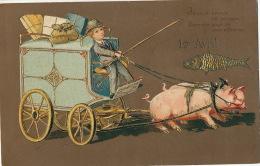 Attelage Cochons Gaufrée  1 Er Avril  Embossed April Fool Pig Cart - Schweine